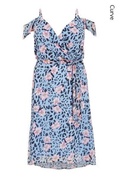 Curve Blue Floral Animal Print Dress